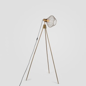 Mill Tripod Floor Lamp in Antique Brass Finish from Gulmoharlane.com